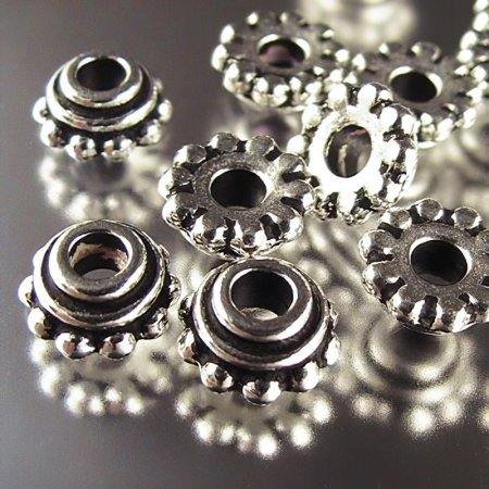 Bead Cap Large Hole Beaded (Daisy) 8mm - Antique Silver