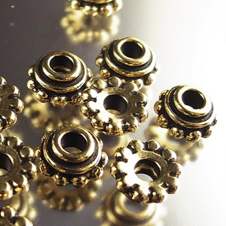 Bead Cap Large Hole Beaded (Daisy) 8mm - Antique Gold