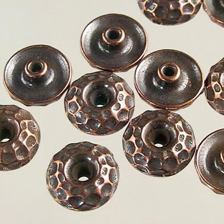 Findings - Bead Caps - 8mm Hammered Bead Aligner - Antique Copper (10)