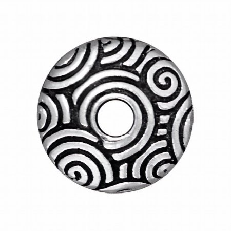Bead Cap Spiral Dance Style - Large Hole 11mm - Antique Silver