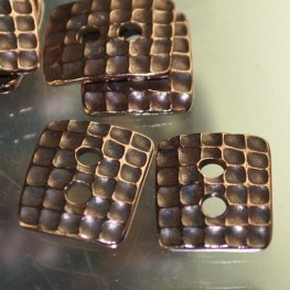Findings - Link - 13x15mm Wafflecone Rectangle Button - Antiqued Copper