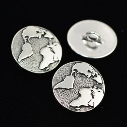 Metal Buttons - Earth - Antiqued Silver