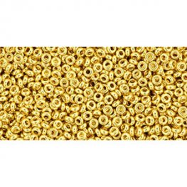 Japanese Seedbeads - 11/0 2.2mm Toho Demi Round Seedbeads - 24k Gold Plated (3.3 grams)