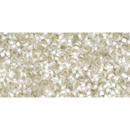 Japanese Seedbeads - 11/0 2.2mm Toho Demi Round Seedbeads - Silver Lined Frosted Crystal [Permanent Finish]