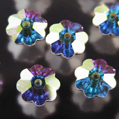 Swarovski Sew-on Stones - 6mm Margarita Flowers (3700) - Crystal AB / Silver Foiled