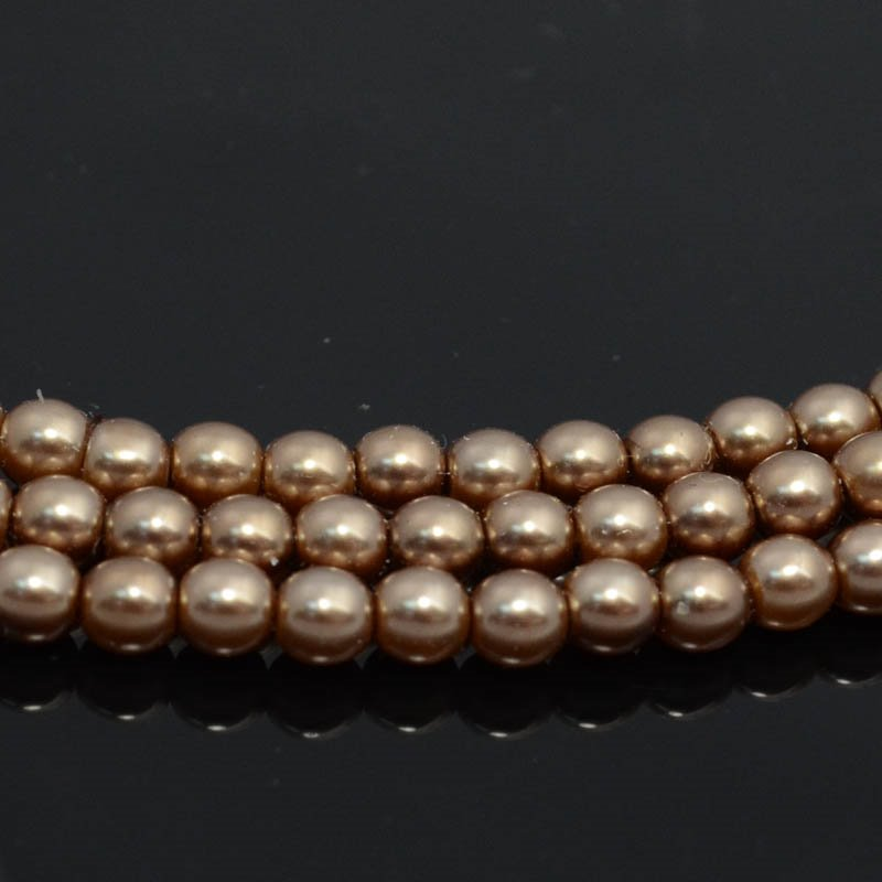Glass Pearls - 4mm Round - Bronze (strand)