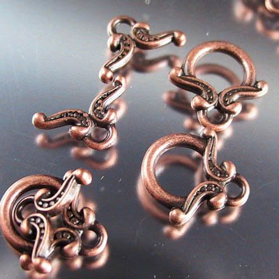 Toggle Clasp - Yoke and Ring - Antique Copper