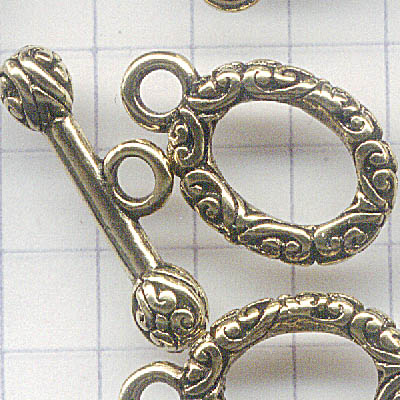 Toggle Clasp - Oval Flourish and Barbell - Antiqued Gold