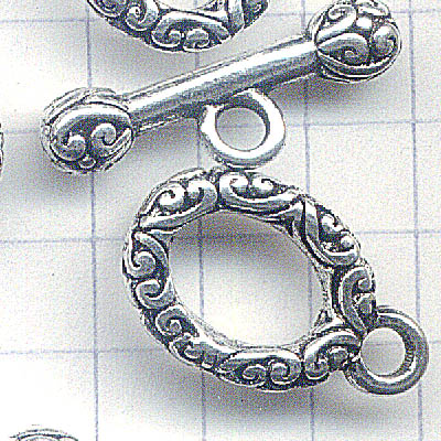 Toggle Clasp - Oval Flourish and Barbell - Antiqued Silver