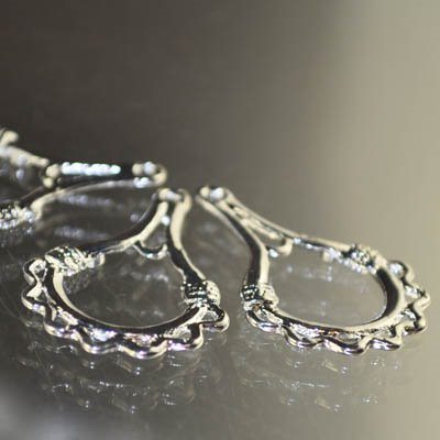 Earring - Pointy Loops Chandelier - Bright Silver (Pair)