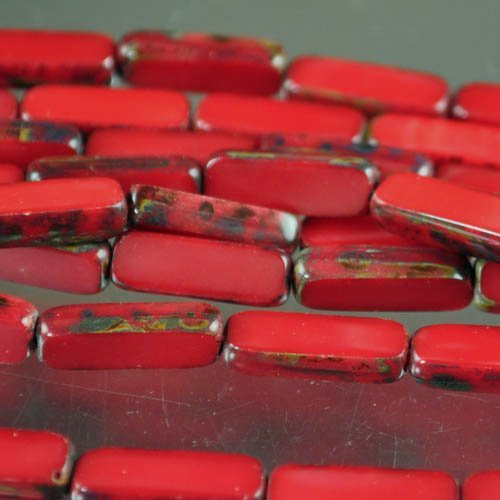 Window Beads - 5x15mm Long Rectangle - Red Coral / Picasso