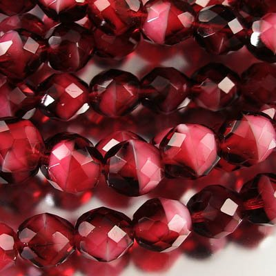 Firepolish - 10mm Faceted Round - Cranberry Givre