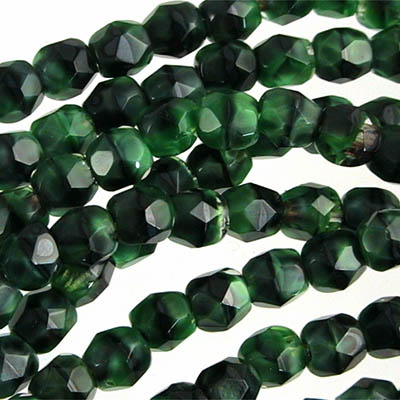 Firepolish - 4mm Faceted Round - Malachite (50)