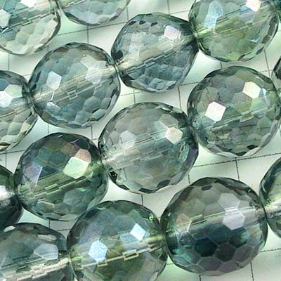 Firepolish - 12mm Rich Cut Round - Crystal Seagreen
