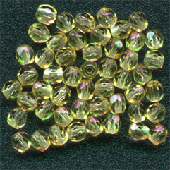 Firepolish - 4mm Faceted Round - Topaz (Pack)