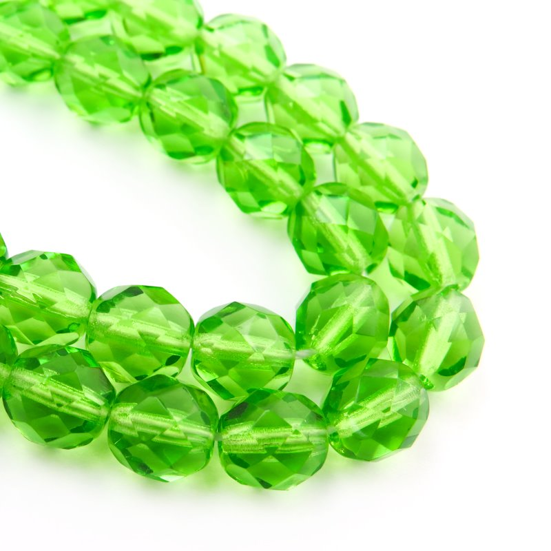 Firepolish - 8mm Faceted Round - Peridot (25)