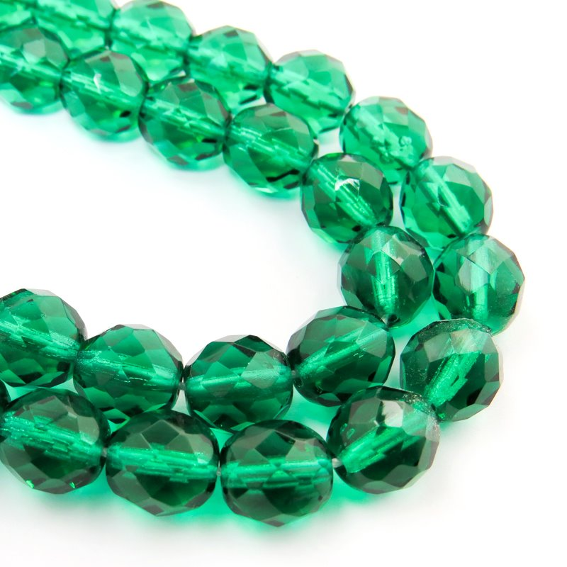 Firepolish - 10mm Faceted Round - Emerald (25)