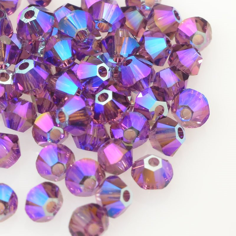 Swarovski Bead - 3mm Faceted Bicone (5301/5328) - Amethyst Shimmer2 (36)