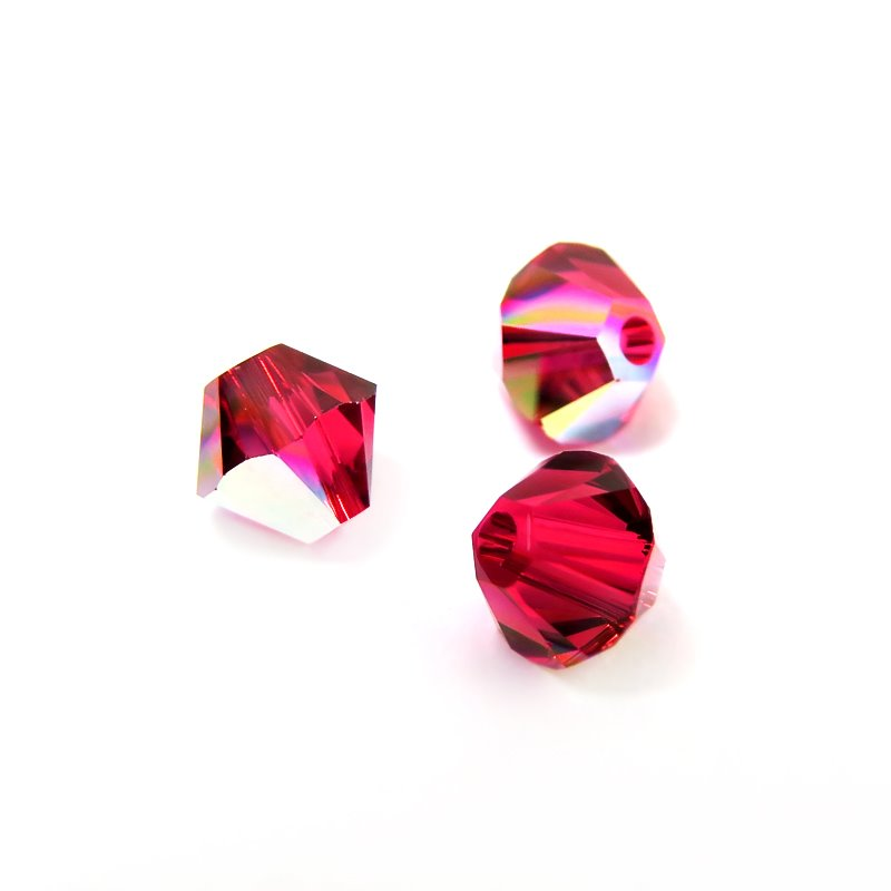 Swarovski Bead - 4mm Faceted Bicone (5301/5328) - Scarlet AB (36)