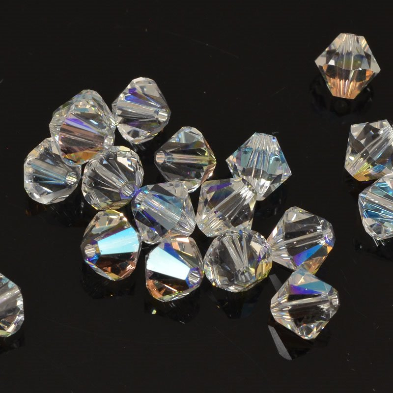Swarovski Bead - 6mm Faceted Bicone (5301/5328) - Crystal Shimmer (12)