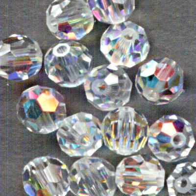 Swarovski Bead - 4mm Faceted Round (5000) - Crystal AB (Pkg 18)