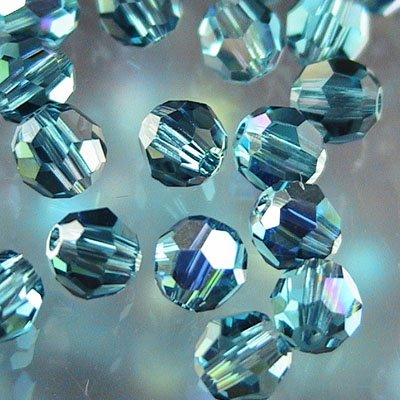 Swarovski Bead - 4mm Faceted Round (5000) - Indicolite AB (Pkg 18)