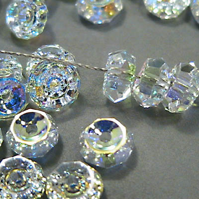Swarovski Bead - 6mm Concave Faceted Rondelles (5308) - Crystal AB