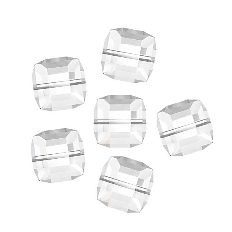 Swarovski Bead - 8mm Faceted Cube (5601) - Crystal