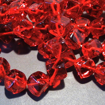 Glass - 8mm Dancing Cube - Siam Ruby (strand 25)