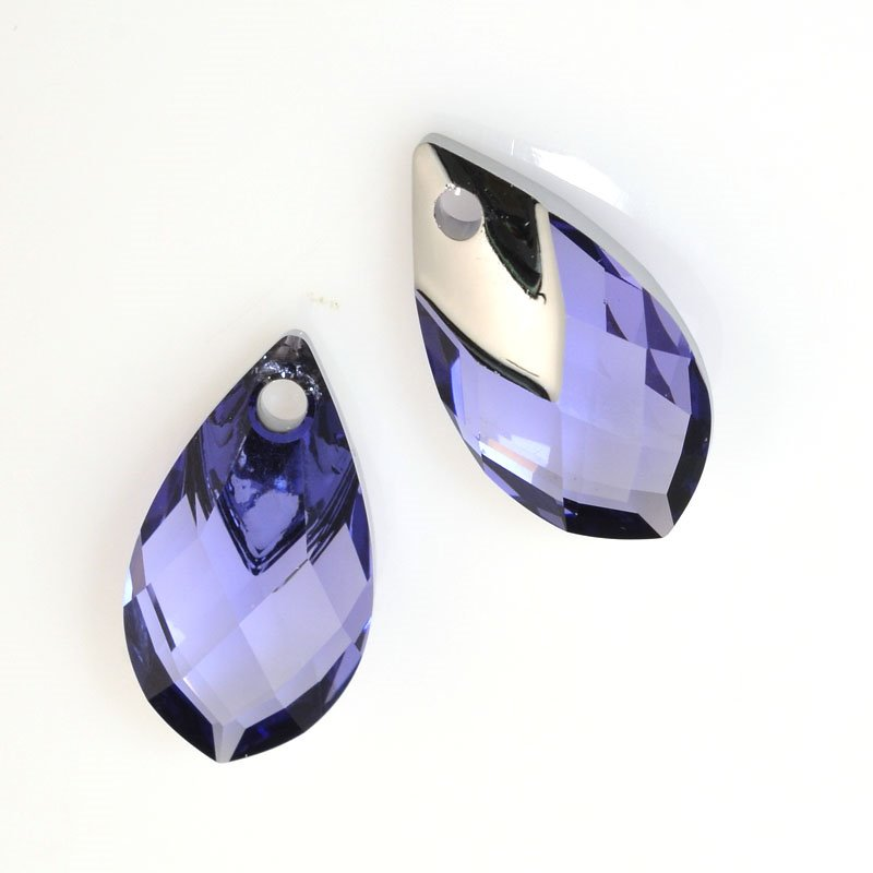 Swarovski Pendant - 18mm Light Chrome Capped Drop Pendant (6565) - Tanzanite