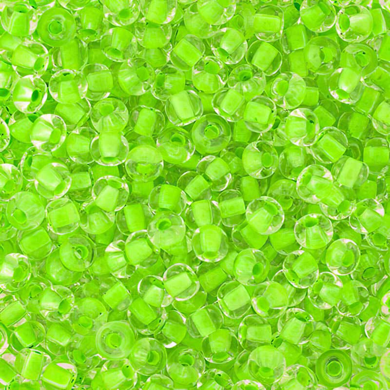Czech Seedbeads - 6/0 Seedbead - Crystal Colour-lined Neon Green (20 grams)
