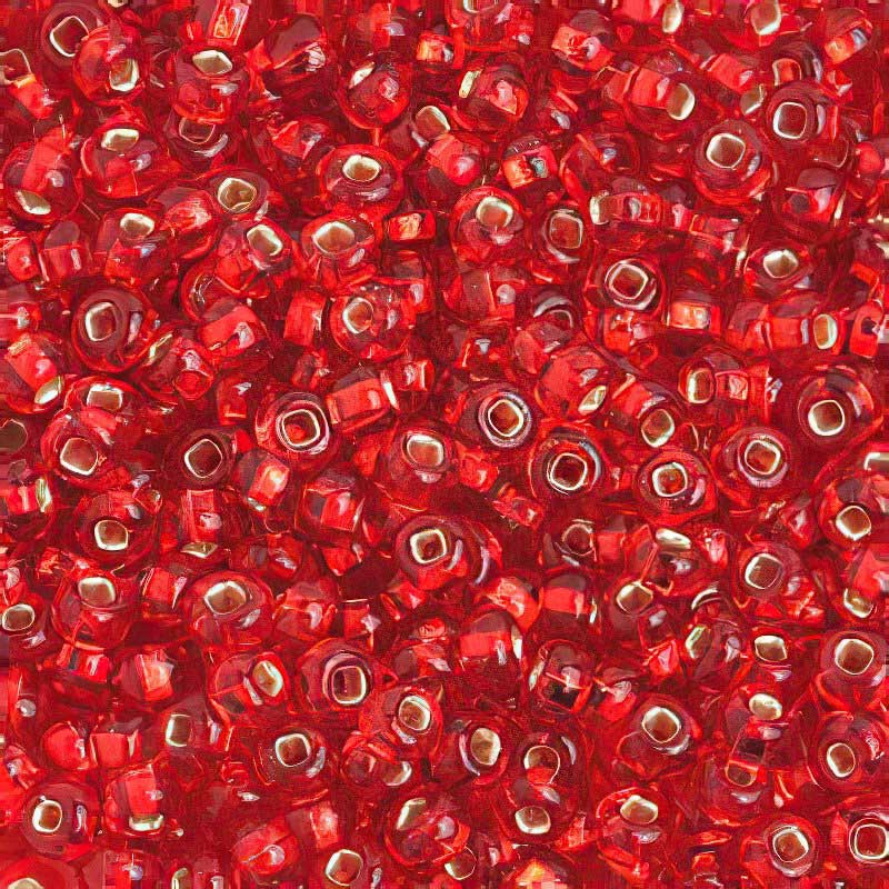 Czech Seedbeads - 6/0 Seedbead - Silver Lined Light Red (20 grams)