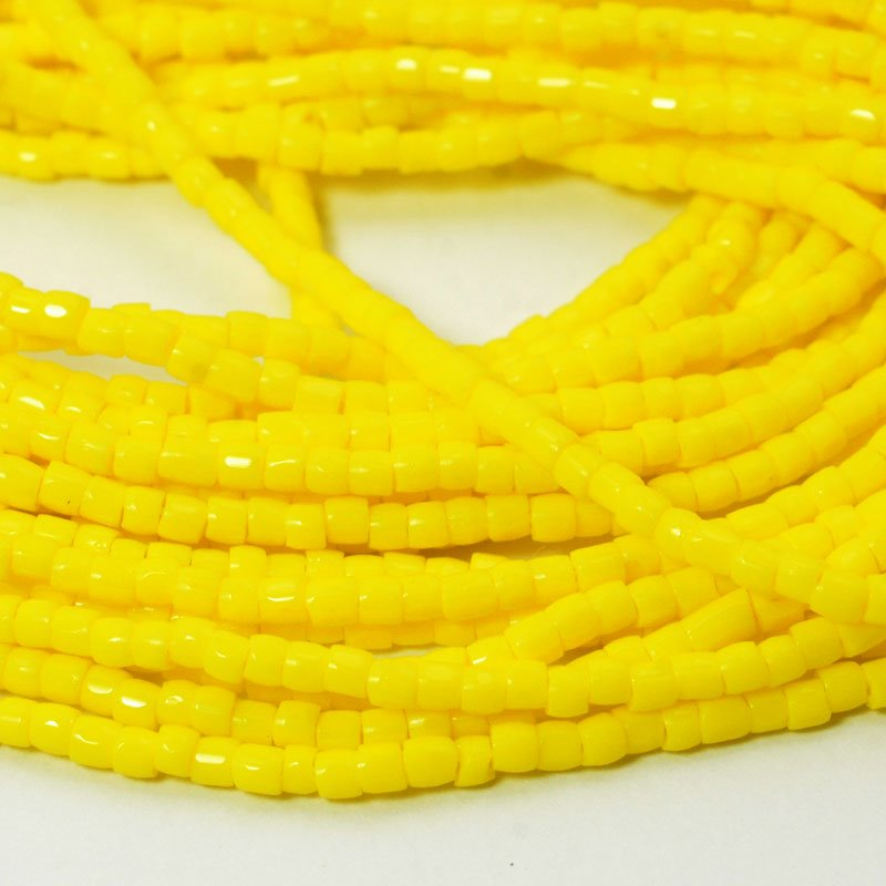 Czech Seedbeads - 9/0 3-Cut Rocailles - Opaque Lemon Yellow (hank)