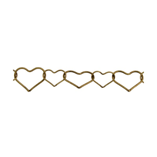 Chain - Large Small Heart Chain - Antique Gold (2 m card)
