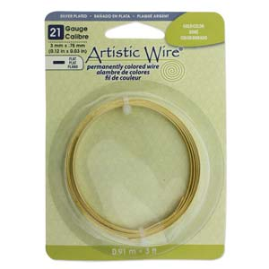 Artistic Wire - 21ga Flat Wire - Silver Plated Gold Color (3 feet)