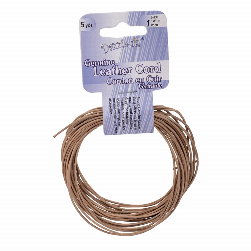 Stringing - 1mm Round Leather Cord - Natural (5 yards)