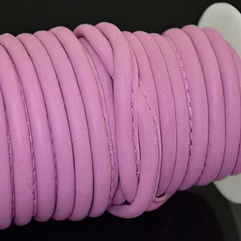 Nappa Leather - 5mm Round / Stitched Leather Cord - Power Pink (Inch) Manager Special