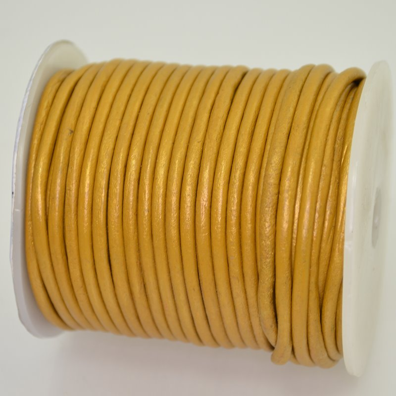 Stringing - 3mm Leather Cord - Metallic Gold (1 Metre)