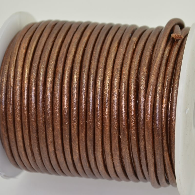 Stringing - 3mm Leather Cord - Metallic Copper (25 meter Spool)
