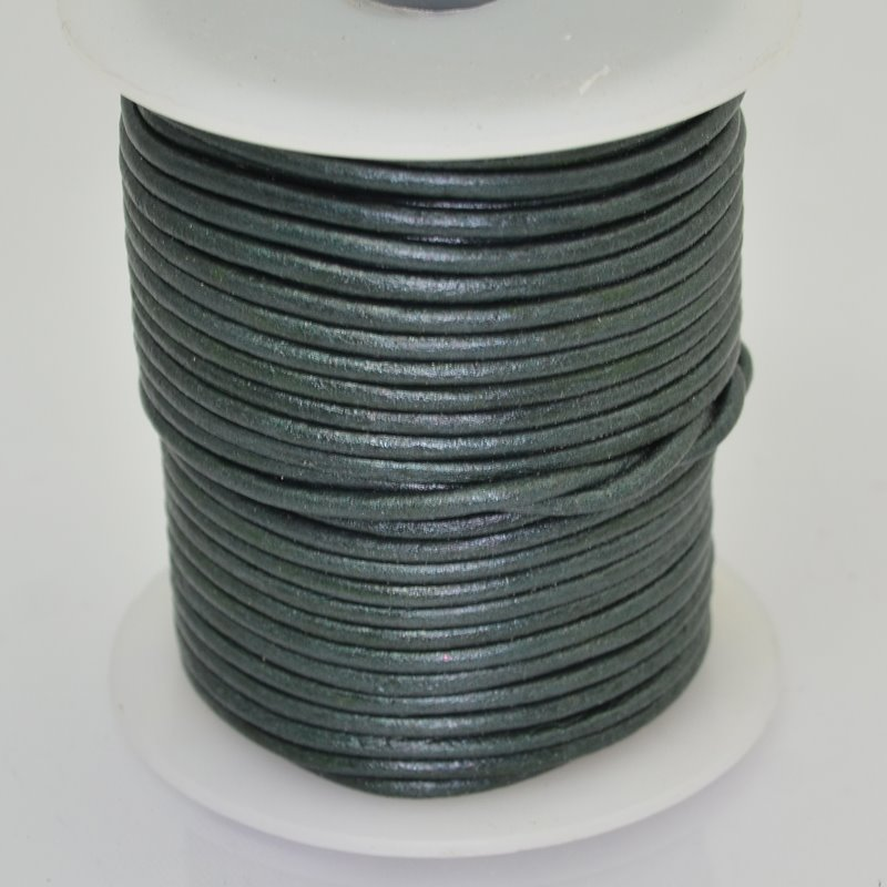 Stringing - 2mm Leather Cord - Metallic Dark Olive Green (1 Metre)