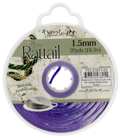 Rattail Cord - 1.5mm Satin Mousetail Cord - Dark Purple (20 yard bobbin)