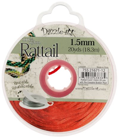 Rattail Cord - 1.5mm Satin Mousetail Cord - Red (20 yard bobbin)