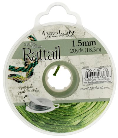 Rattail Cord - 1.5mm Satin Mousetail Cord - Olive (20 yard bobbin)