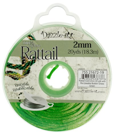 Rattail Cord - 2mm Satin Rattail Cord - Grass Green (20 yard bobbin)