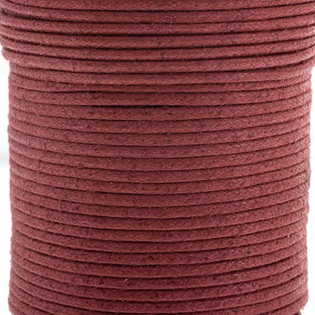 Cotton Cord - 1mm Round Waxed - Italian Red (25m)