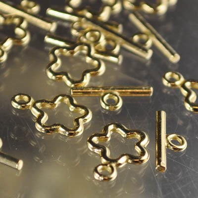 Toggle Clasp - Star and Bar Forever - Bright Brass