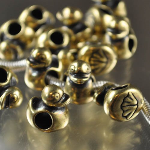 Metal Beads - Pandora/Euro Style - And They Swam All Over the Dam - Brass Oxide Manager Special