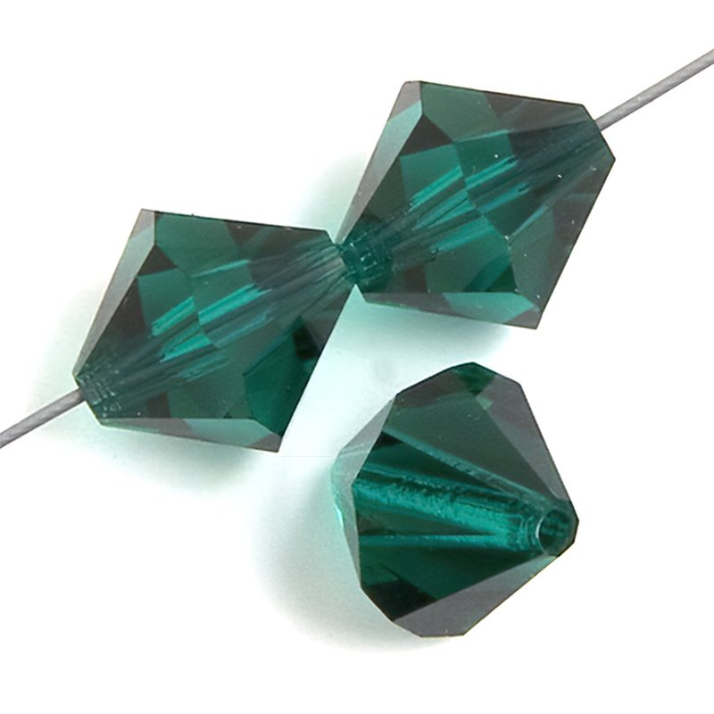 Preciosa Machine Cut Crystal - 6mm Faceted Bicone - Emerald (36)