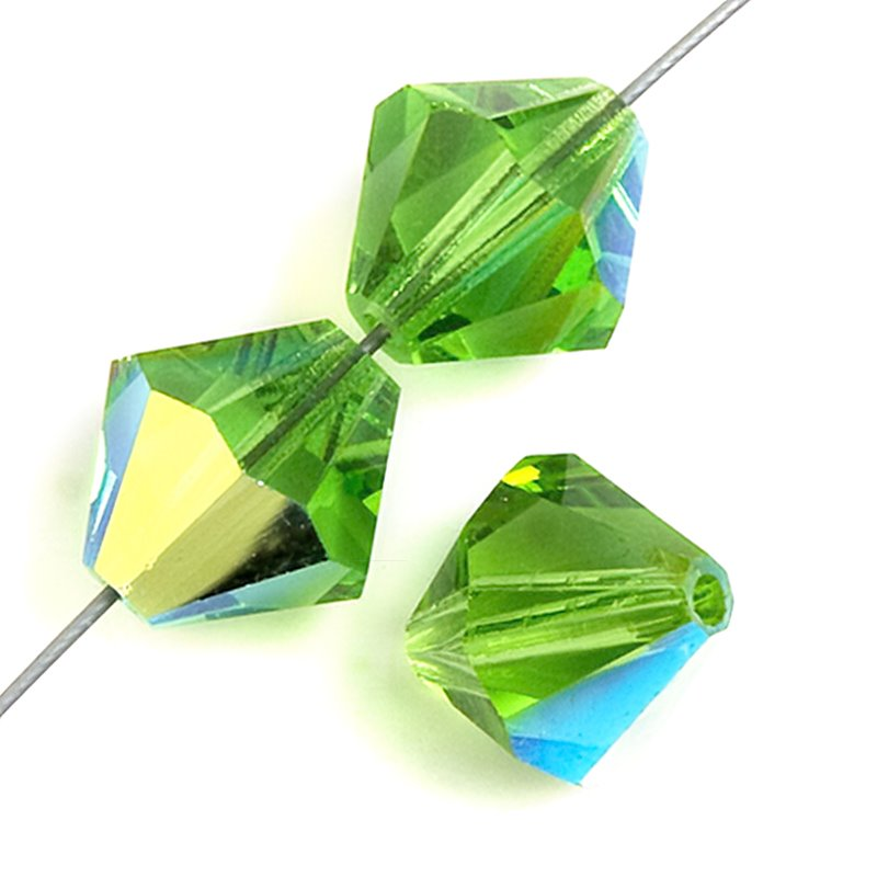 Preciosa Machine Cut Crystal - 8mm Faceted Bicone - Peridot AB (36)