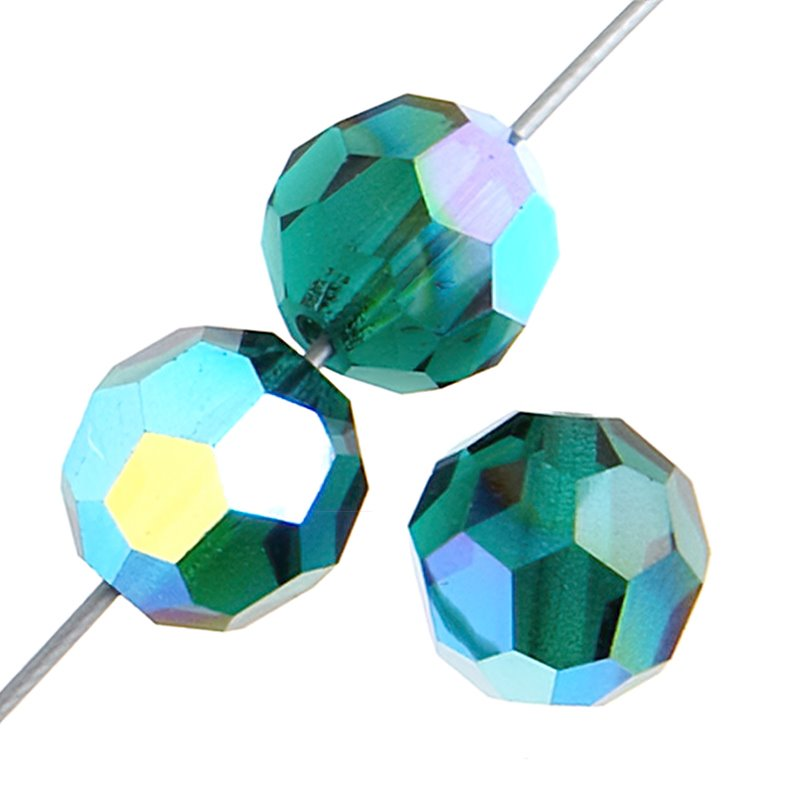 Preciosa Machine Cut Crystal - 3mm Faceted Round - Emerald AB (40)